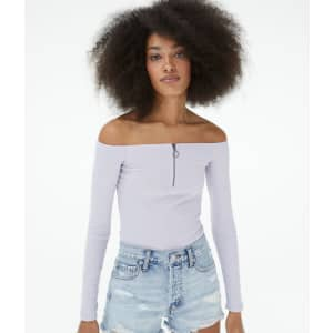 Aeropostale Women's Long Sleeve 1/4-Zip Off-The-Shoulder Bodycon Top for $6