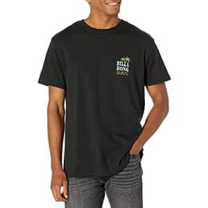 Billabong Men's Classic Short Sleeve Premium Logo Graphic Tee T-Shirt, Black Las Palmas, Medium for $20