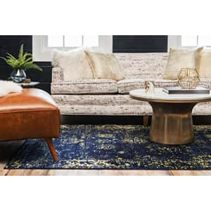 """Unique Loom Sofia Collection Traditional Vintage Area Rug, 2' 2"""" x 3', Navy Blue/Yellow for $30"""