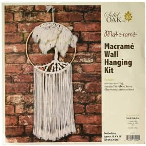 Solid Oak Macrame Wall Hanging Tree for $12