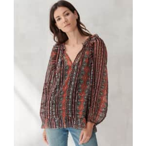 Lucky Brand Women's Chiffon Printed Peasant Top for $13