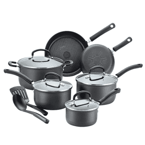 T-fal E765SC Ultimate Hard Anodized Nonstick 12 Piece Cookware Set, Dishwasher Safe Pots and Pans for $136