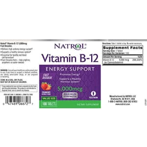 Natrol Vitamin B12 Fast Dissolve Tablets, Promotes Energy, Supports a Healthy Nervous System, for $8