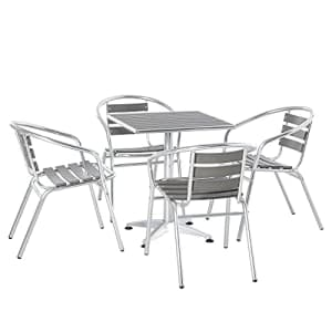 Outsunny 5-Piece Outdoor Patio Bistro Table Set with Aluminum Frame, Woodgrain-Style Tabletop & for $170