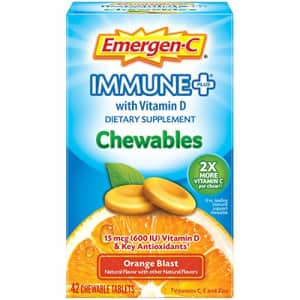 Emergen-C Immune+ Chewables Vitamin C 1000mg With Vitamin D Tablet (42 Count, Orange Blast Flavor) for $9