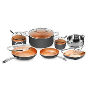 Gotham Steel Pots and Pans Set 12 Piece Cookware Set with Ultra Nonstick Ceramic Coating by Chef for $27