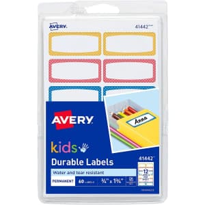 Avery Kids' Durable Labels 60-Count for $4