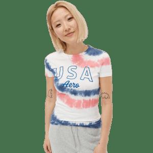Aeropostale Women's USA Aero Tie-Dye Graphic Tee for $6