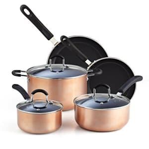 Cook N Home, Copper/Brown 8-Piece Nonstick Heavy Gauge Cookware Set,2581 for $73