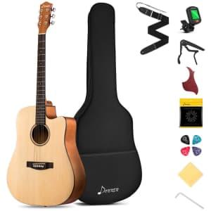 Donner Beginner Acoustic Guitar Bundle for $75