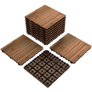 SmileMart 11-Piece Wood Flooring Tiles for $49