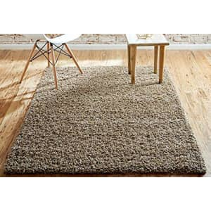 Unique Loom Solo Solid Shag Collection Area Modern Plush Rug Lush & Soft, 4' 0 x 6' 0 Rectangular, for $32