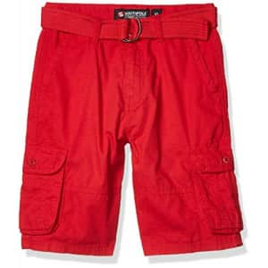 Southpole - Kids Boys' Big Belted Ripstop Basic Cargo Shorts, red as, 16 for $16