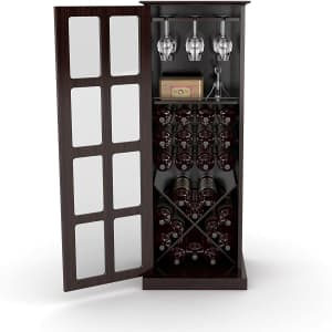 Atlantic Furniture Windowpane 24-Bottle Wine and Liquor Cabinet for $130