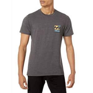 Billabong Men's Classic Short Sleeve Premium Logo Graphic Tee T-Shirt, BBTV Black Heather, Medium for $20