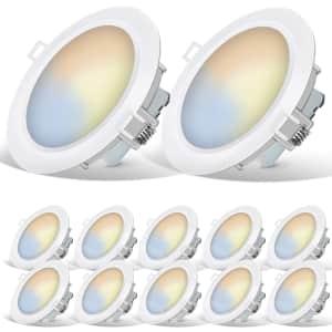 "Energetic Smarter Lighting 6"" LED Recessed Light 12-Pack for $50"