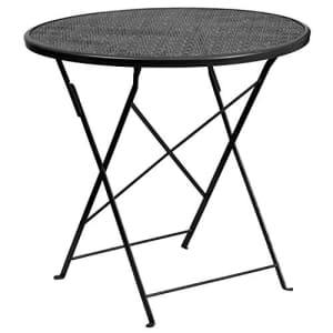 """Flash Furniture Commercial Grade 30"""" Round Black Indoor-Outdoor Steel Folding Patio Table for $75"""