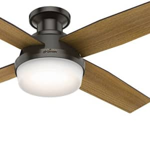 Hunter Fan 52 inch Low Profile Ceiling Fan with LED Light and Remote, Noble Bronze (Renewed) for $115