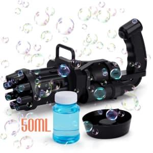 Colorfarm Automatic Bubble Gatling Toy w/ Solution for $7