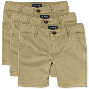 The Children's Place boys Stretch Chino Shorts, FLAX, 5 for $36