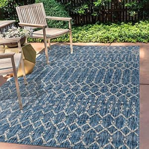 JONATHAN Y Ourika Moroccan Geometric Textured Weave Indoor/Outdoor Navy/ Gray 3 ft. x 5 ft. Area for $63