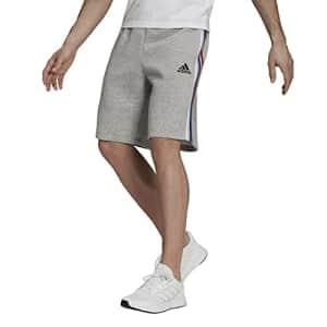 adidas Men's Standard Essentials Fleece 3-Stripes Shorts, Medium Grey Heather/White/Team Royal for $26