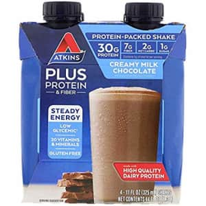 Atkins Plus Protein Fiber Creamy Milk Chocolate, 4 Shakes, Total 44 fl oz (Pack of 2) for $30