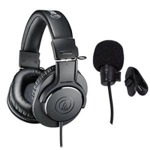 Audio-Technica ATH-M20x Professional Studio Monitor Headphones Deluxe Bundle for $70