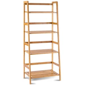 Costway 4-Tier Bamboo Ladder Shelf for $45