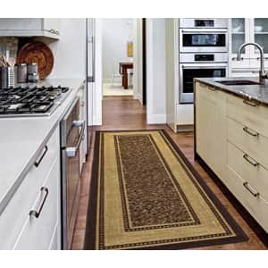 """Ottomanson Ottohome Collection Contemporary Bordered Design Modern Runner Rug, 20"""" x 59"""", Chocolate for $19"""