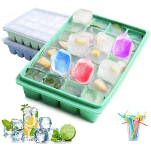 Stackable Silicone Ice Cube Trays w/ Lids 2-Pack for $17