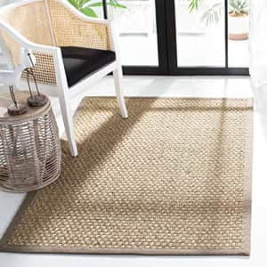 Safavieh Natural Fiber Collection NF114P Basketweave Natural and Grey Summer Seagrass Area Rug (3' for $41