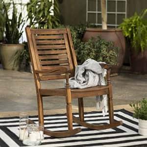 Walker Edison Montego Traditional Acacia Wood Slat Back Patio Rocking Chair, 42 Inch, Dark Brown for $179