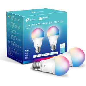 TP-Link Kasa Multicolor LED Smart Light Bulb 2-Pack for $18