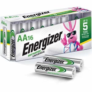 Energizer Rechargeable AA Batteries, NiMH, 2000 mAh, Pre-Charged, 16 count (Recharge Universal) for $43