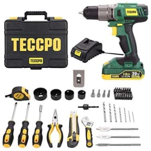 Teccpo 20V 63-Piece Cordless Drill & Home Set for $90