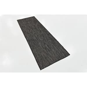 Unique Loom Outdoor Solid Collection Casual Transitional Indoor and Outdoor Flatweave Black Runner for $31