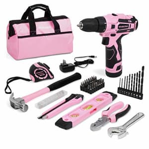 WORKPRO 12V Pink Cordless Drill and Home Tool Kit, 61 Pieces Hand Tool for DIY, Home Maintenance, for $92