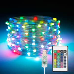 33ft. USB Fairy Lights w/ Remote for $10