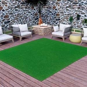 "Ottomanson Evergreen Artificial Turf Area Rug, 6'X7'3"", Green for $62"