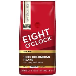 Eight O'Clock Coffee 100% Colombian Peaks Ground Coffee 22-Oz. Bag for $14