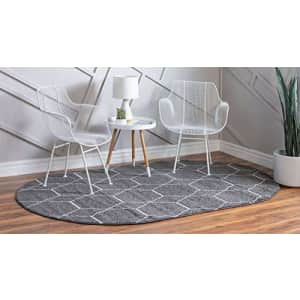 Unique Loom Trellis Frieze Collection Lattice Moroccan Geometric Modern Oval Rug, 3 x 5 Feet, Dark for $51