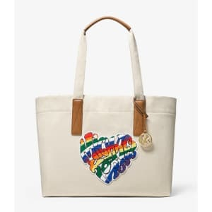 Michael Kors The Michael Large Heart Patch Cotton Tote Bag for $63