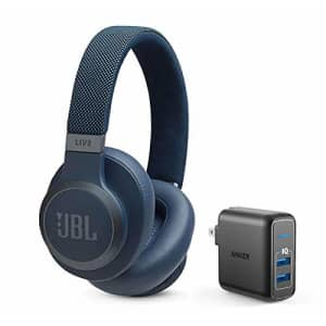 JBL Live 650 BT NC Over-Ear Noise Canceling Wireless Bluetooth Headphone Bundle with Anker for $129