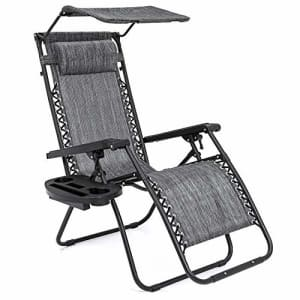 Best Choice Products Folding Zero Gravity Outdoor Recliner Patio Lounge Chair w/Adjustable Canopy for $154