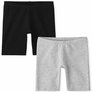 The Children's Place Girls' Solid Bike Shorts, Pack of Two, H/T Mist, XS (4) for $8