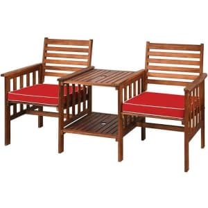 Costway 3-Piece Acacia Wood Conversation Set w/ Cushions for $179
