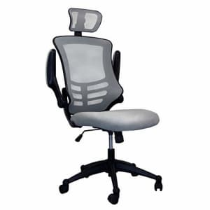 Techni Mobili Modern High Back Mesh Executive Chair With Headrest And Flip Up Arms. Color: Silver Grey for $221
