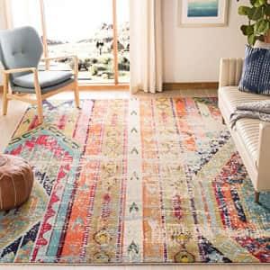 "Safavieh Monaco Collection MNC222F Modern Bohemian Distressed Area Rug, 5' 1"" x 7' 7"", Multi for $87"