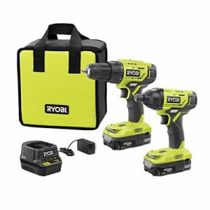 Ryobi P1817 18V ONE+ Lithium-Ion Cordless 2-Tool Combo Kit with (2) 1.5 Ah Batteries, 18-Volt for $118